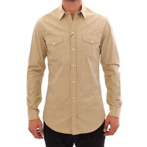 Dolce & Gabbana D10403-1 Beige Fit Casual Shirt